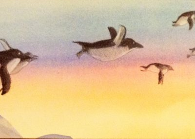 flying penguins painting watercolor
