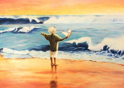 boy at beach fine art painting